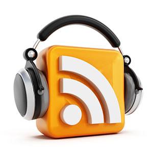 RSS logo with headphones